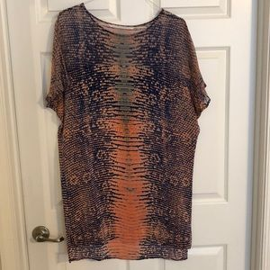 Snakeprint silk summer shift dress